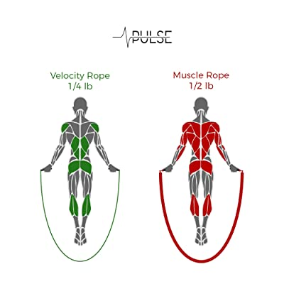 Pulse Athletics Jump Rope Set with 1//2 LB weighted rope and 1//4 LB Speed rope.