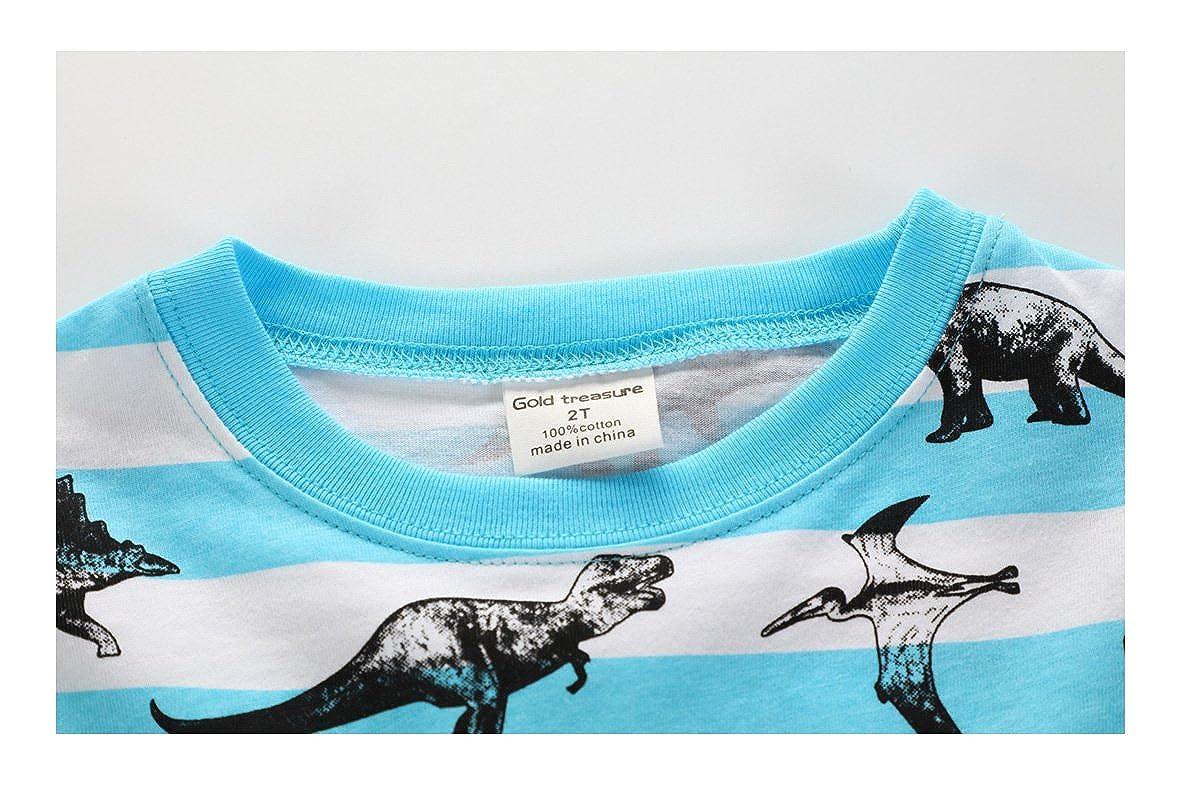 Gold treasure Little Kids Sleepwear Long Sleeve Pajama Set with Cartoon Many Dinosaurs