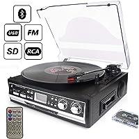 D & L 7 en 1 Platine Vinyle Avec Télécommande, Radio FM, Lecteur de Cassettes et Bluetooth 33/45/78 Vitesses Lecteurs USB et SD et Lecteur de Disques Vinyle à Encodage, avec Transparent Anti-poussière