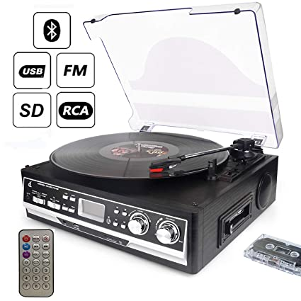 D&L Bluetooth Record player,3-Speed Vintage Vinyl Player Turntable with  Built-in Speakers, Support USB/SD Player and Encoding, FM/AM Radio, RCA