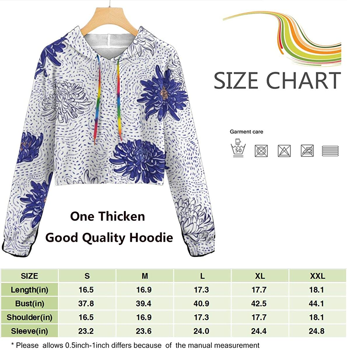 Chrysanthemum Polka Dots Line Womens Long Sleeve Letter Print Casual Sweatshirt Crop Top Hoodies
