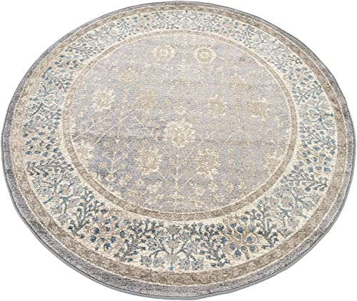 Unique Loom Salzburg Collection Traditional Oriental Gray Round Rug 5 0 x 5 0