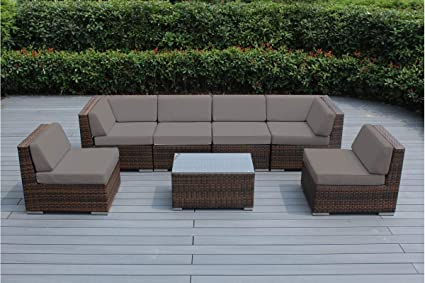 genuine ohana collection outdoor patio sofa sectional wicker furniture mixed brown 7pc couch set sunbrella taupe