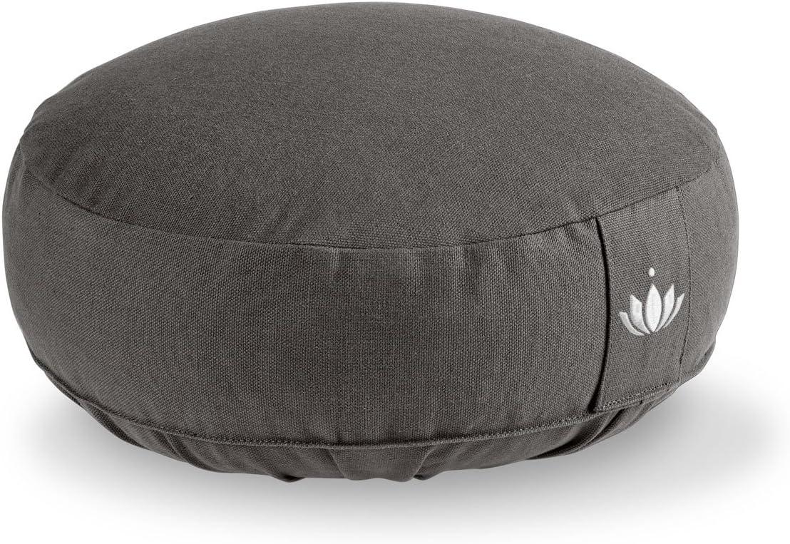Waschbarer Bezug aus Baumwolle Sitzhöhe 15cm Mit Bestickung Lotuscrafts Yogakissen Meditationskissen Rund LOTUS GOTS Zertifiziert Yoga Sitzkissen mit Dinkelfüllung