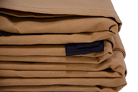 """Canvas Tarp Heavy Duty Cotton Polyester Ripstop Tarpaulin Waterproof Mold /& UV Resistant with Rustproof Grommets Reinforced Edges /& Corners Cut Size: 8x12, Finished Size: 7/'6/""""x116, Brown"""