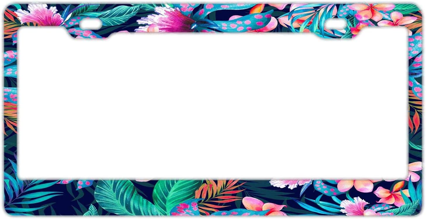 Neon Tropical Hawaiian Flowers License Plate Frame for Women//Girls,Car Licenses Plate Covers Decorative License Tag Stainless Steel Metal Frame