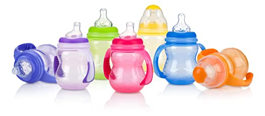 Nuby Non-Drip 3-Stage Wide Neck Bottle to Cup, 8 Ounce, Colors May Vary