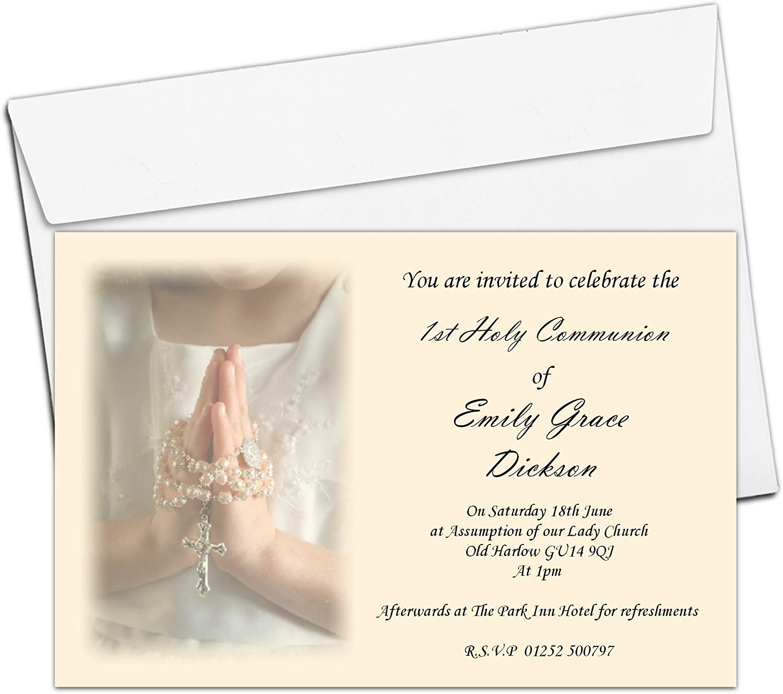 10 Personalised Girl Communion Photo Invitations