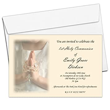 10 Personalised Girls 1st First Holy Communion Invitations N15