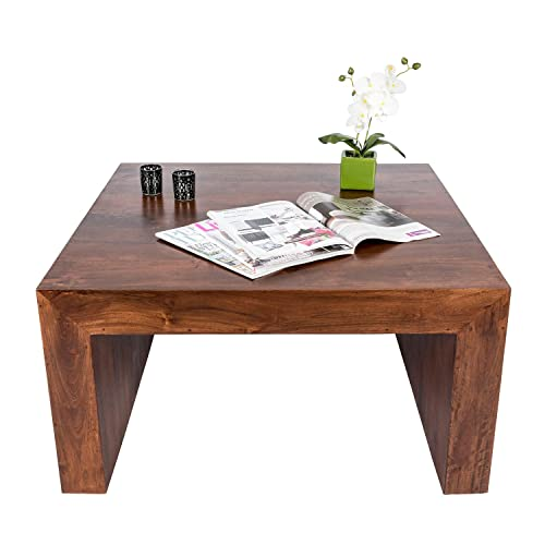 Homescapes Dakota Darkwood Square Coffee Table 85 X 85 Cm, Solid Mango  Hardwood Furniture,