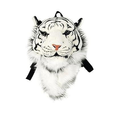Domineering backpack stuffed tiger head 3D simulation personalised shoulder Bag Animal head shoulders bag (large, tiger white) | Kids' Backpacks
