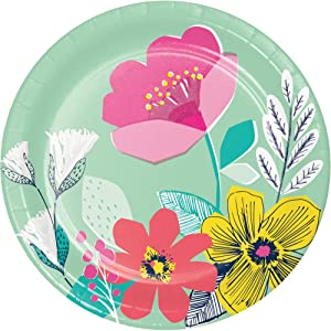 Paper Plates Decorative Disposable Plates, Spring Flowers Spring Decor Bridal Shower Plates, Girl Birthday, Salad or Dessert Plates 7 Inch Pk 16