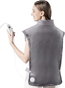 """iTeknic Heating Pad for Back Pain Relief, [35""""x27""""] Extra Large Heating Pad for Neck and Shoulders with Auto Shut Off, 6 Temperature Settings, Fast Heating - Electric Heat Pad for Cramps Gray"""