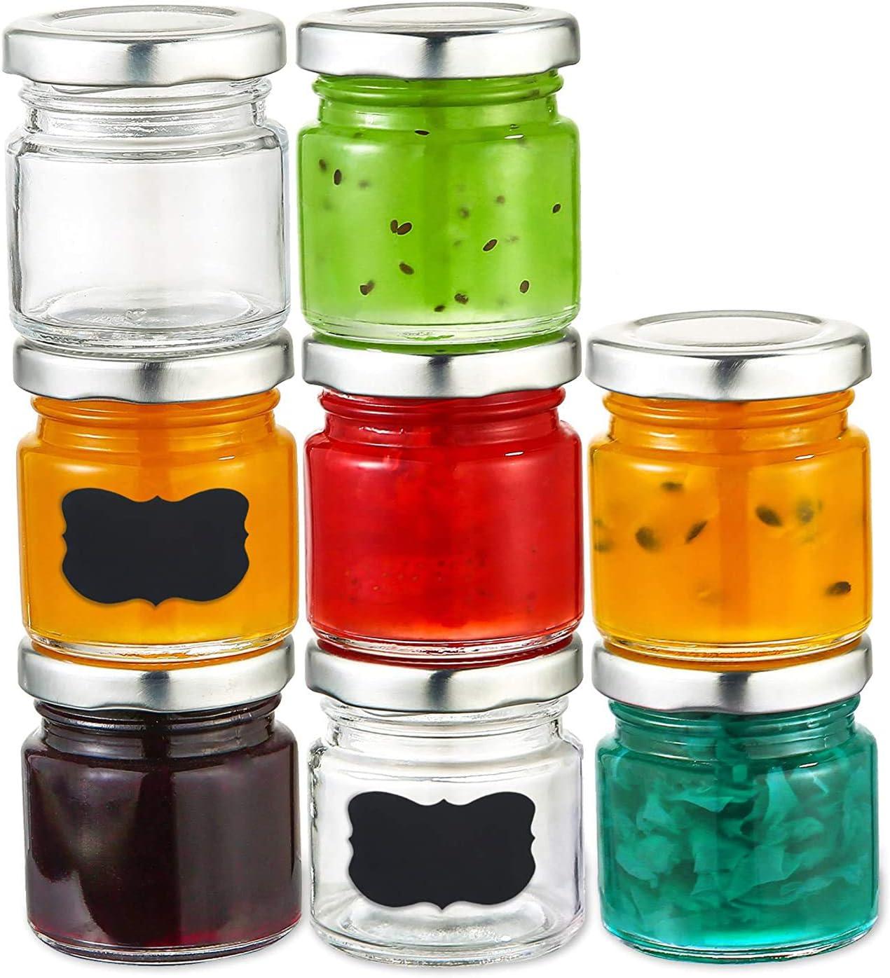 25 Mini Frascos de Cristal de 50 ml - Hermeticos - Tarritos para Regalar Mermelada, Miel, Conservas, Chuches