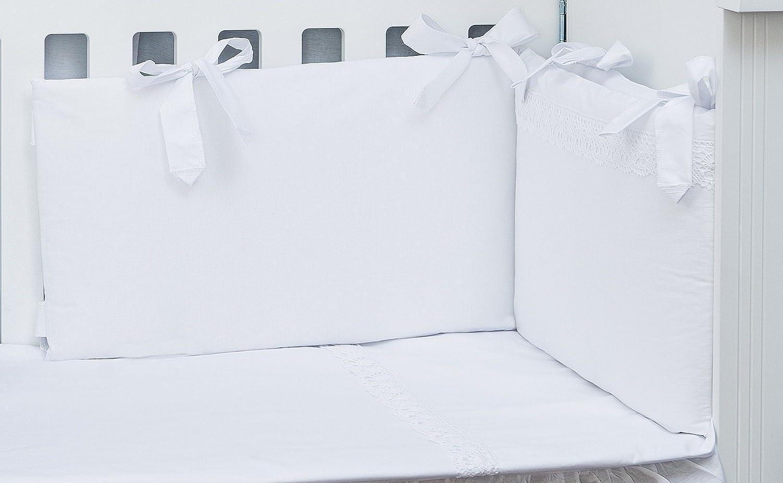 Vizaro - Conjunto de Funda Nórdica y Protector de Cuna 60x120 cm - 100% Algodón - 3 Piezas - Med. 90x120cm - Hecho UE, OekoTex - Bordado Blanco