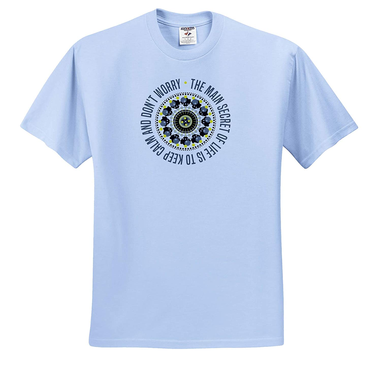 Motivational and 12 Steps 3dRose Alexis Design Around it T-Shirts Grey Mandala and a Text The Main Secret of Life is