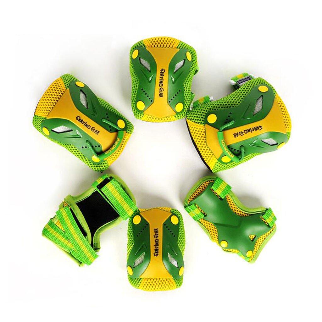 QZ HOME 子供用 ローラースケートプロテクター 膝パッド 肘プロテクター ハンドガード 6枚 Small グリーン B07G8V1LYL