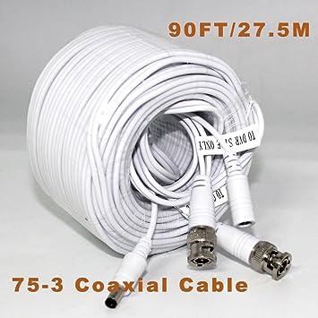 ARBUYSHOP 27.5m CCTV V ideo cable de vídeo + Power BNC + DC 90 pies