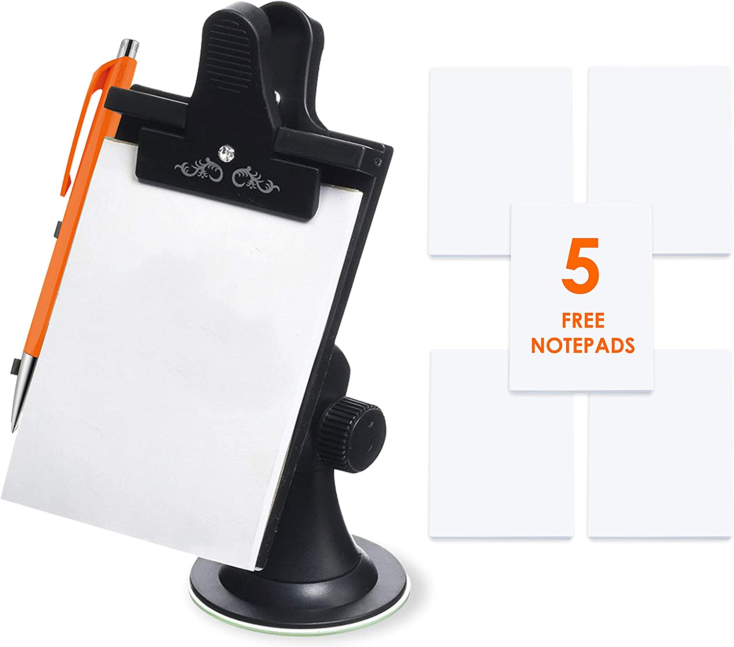 Car Note Pad/Memo Pad/Clip Board with Pen Holder   Universal Suction, Flexible Neck Mount   Allows You to Take Notes While On-The-Go   Now Comes with 5 Replacement Pads of 30 Pages by Mobi Lock