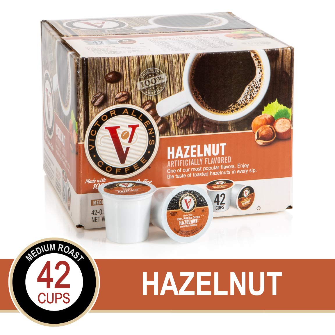 Hazelnut for K-Cup Keurig 2.0 Brewers, 42 Count, Victor Allen's Coffee Medium Roast Single Serve Coffee Pods by Victor Allen