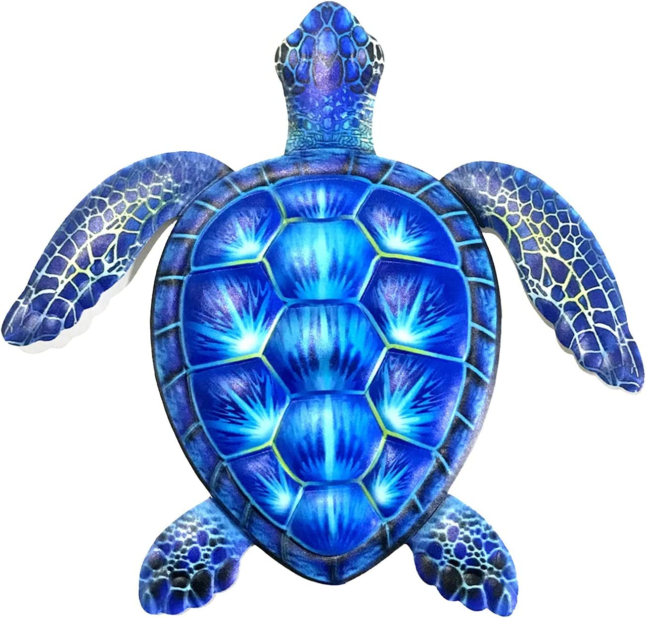 Metal Turtle Wall Decor Outdoor Indoor Sea Turtle Wall Art Hanging Decorations Garden Fence Metal Hanging Art for Porch,Patio,Yard,Home,Office,Garden Fences,Aquarium Ocean Wall Decoration (Blue)