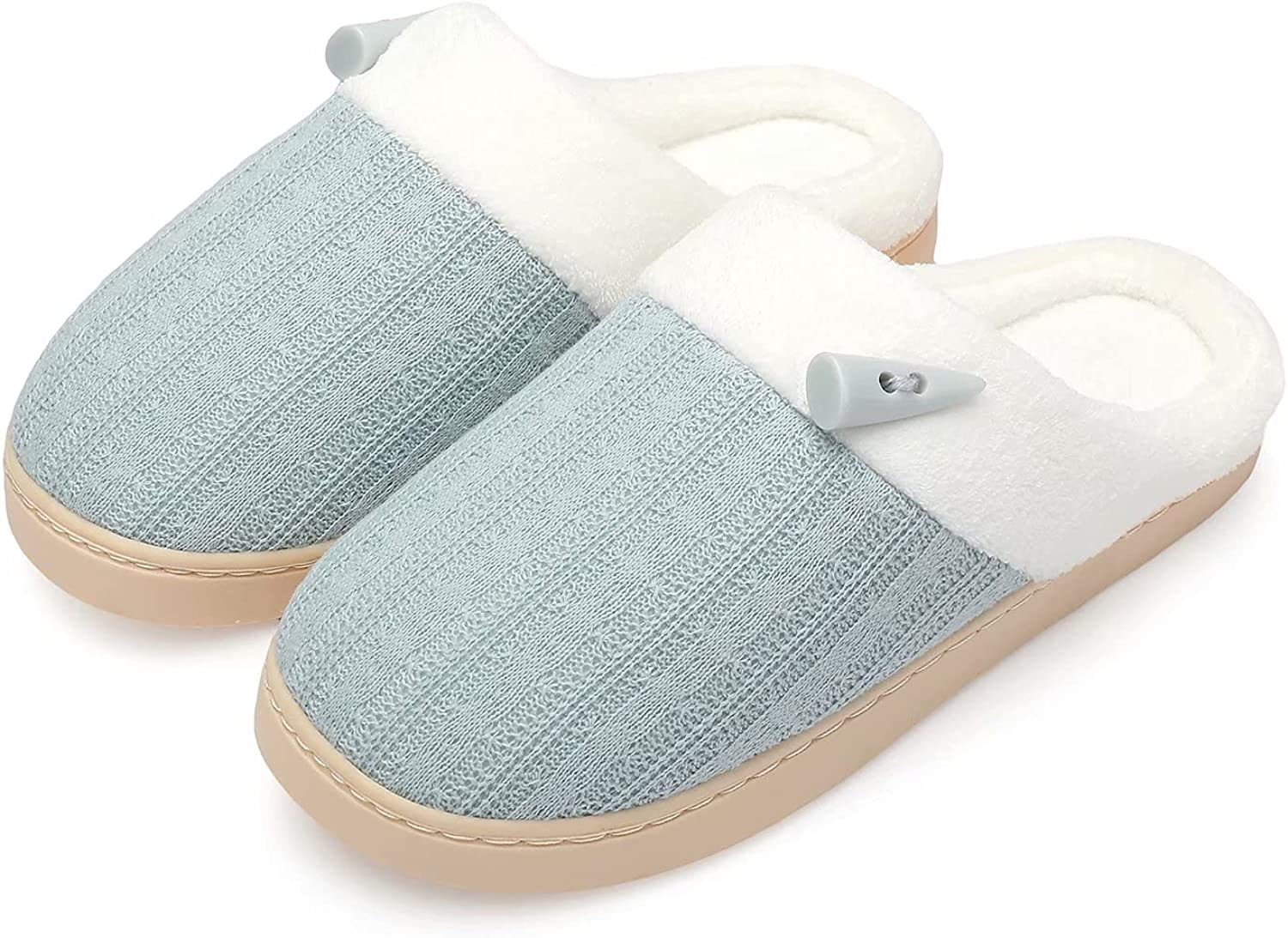 NineCiFun Women's Summer Slippers Scuff Comfy House Shoes Slip on Memory Foam Bedroom Slippers Indoor Outdoor Home Shoes with Soft Terry Lining