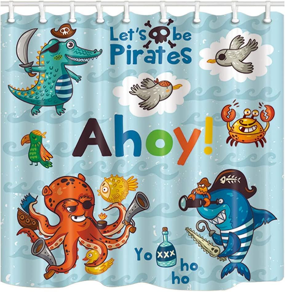 Shocur Kids Cartoon Shower Curtain, Cute Dinosaur Shark and Octopus Pirates, 72 x 72 Inches Polyester Fabric Bathroom Decor Set with 12 Hooks