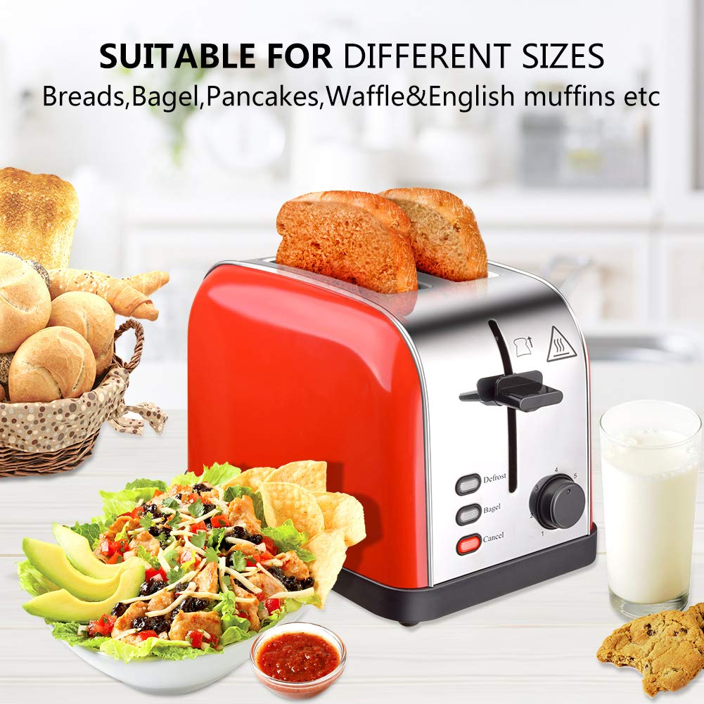 Toaster 2 Slice Toasters Best Rated Prime Extra Wide Slots Compact Stainless Steel with Defrost Reheat Cancel Button High Lift Lever Toaster's Removable Crumb Tray Quickly Toast for Bread&Bagel by Evening (Image #2)