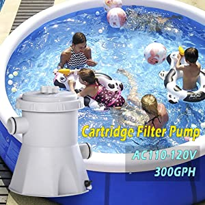 Estery Cartridge Pool Filters Pump HS-630 | Electric Above Ground Swimming Pool Filter Cartridge Pump External Cleaning Tool| AC110-120/220-240 V 300 GPH Pool Pumps