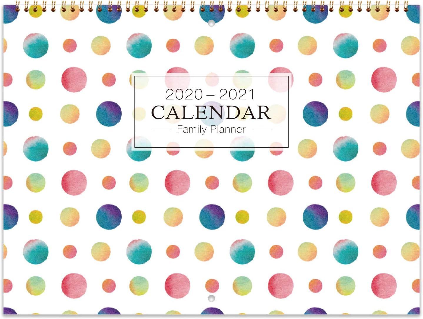 Reliure M/étallique OUVERT Lorganisateur Familial de Juillet 2020 /à Juin 2021 Calendrier 2020-2021 Mural//Agenda Familial Double 39X58 cm Rouge poche Int/érieure 6 Blocs R/égl/és par Jour