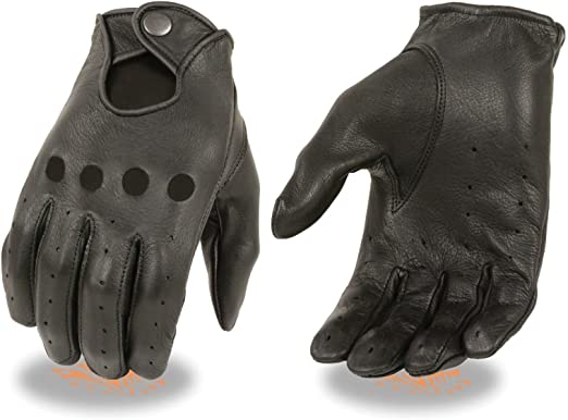 Men/'s genuine leather Unlined driving gloves with snaps Perfect Fit Premium Soft