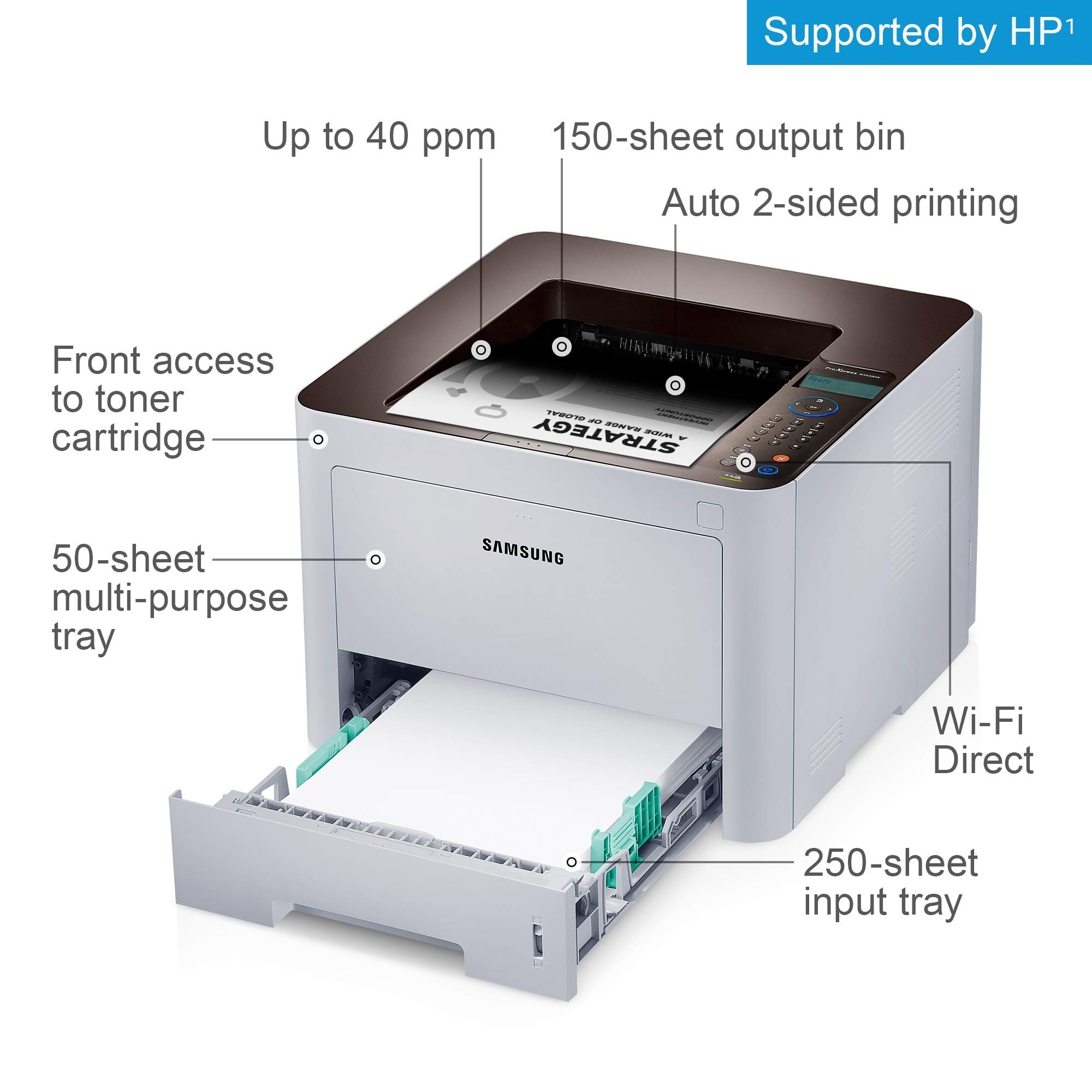 Samsung ProXpress M3820DW Wireless Monochrome Laser Printer with Mobile Connectivity, Duplex Printing, Print Security & Management Tools, Amazon Dash Replenishment Enabled (SS372C) by HP (Image #2)