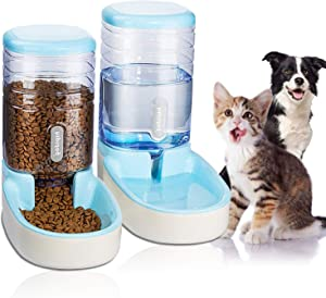 UniqueFit Pets Cats Dogs Automatic Waterer and Food Feeder 3.8 L with 1 Water Dispenser and 1 Pet Automatic Feeder