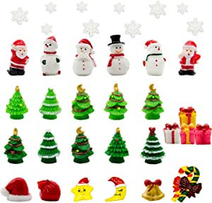 Iceyyyy 37 Pcs Mini Resin Christmas Ornaments - Mini Christmas Theme Resin Miniature Pendant Decoration DIY Kit(Pattern at Random)
