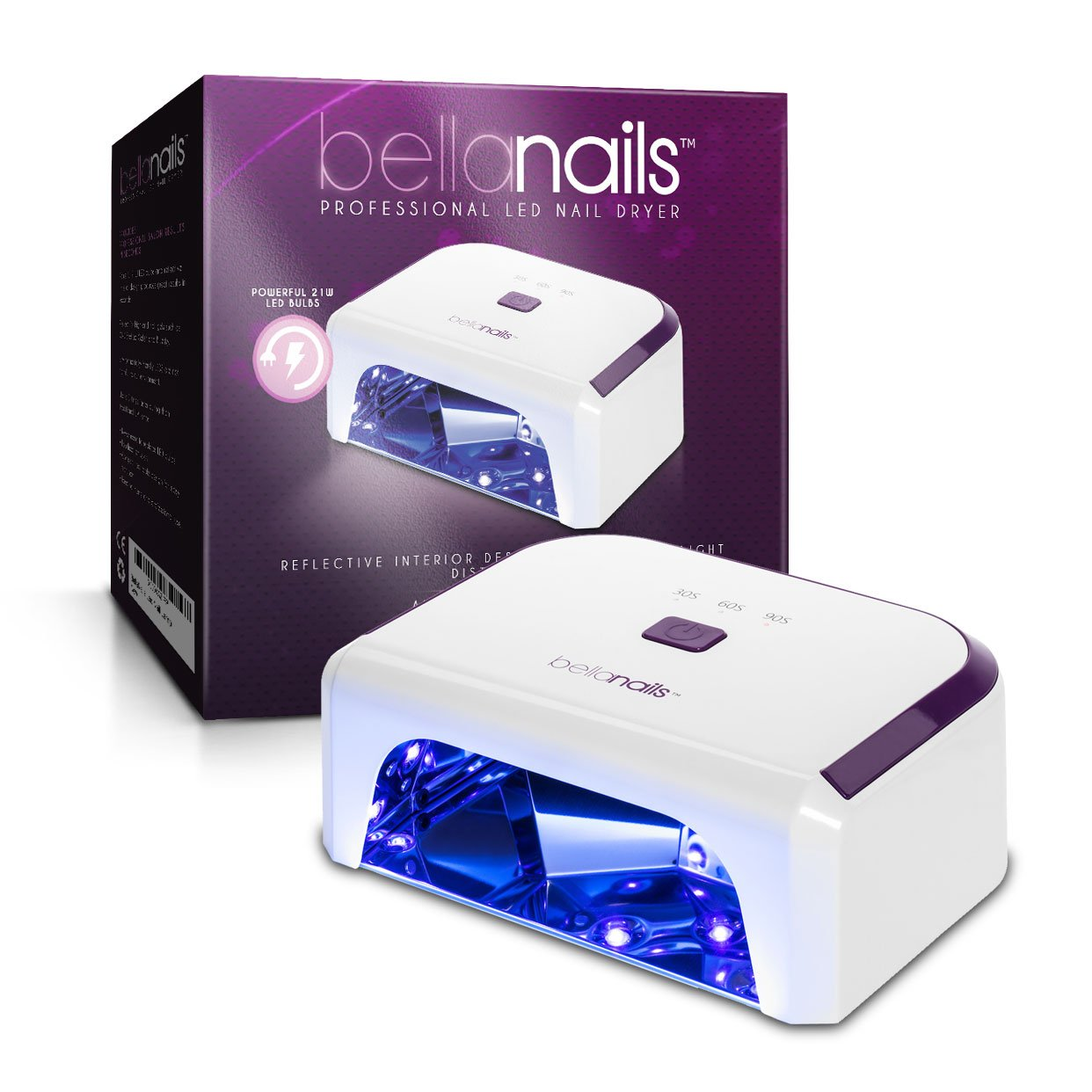 Amazon.com : BellaNails Professional 21W LED Nail Lamp, Removable ...