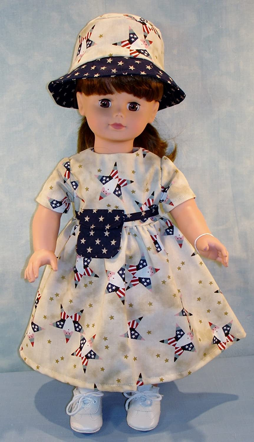 18 Inch Doll Clothes - Patriotic Stars 4th of July Outfit handmade by Jane Ellen to fit 18 inch dolls