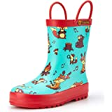 TideWe Rain Boots for Kids and Toddlers, Children Natural Rubber Rain Boots with Easy-On Handles, Waterproof Lightweight…