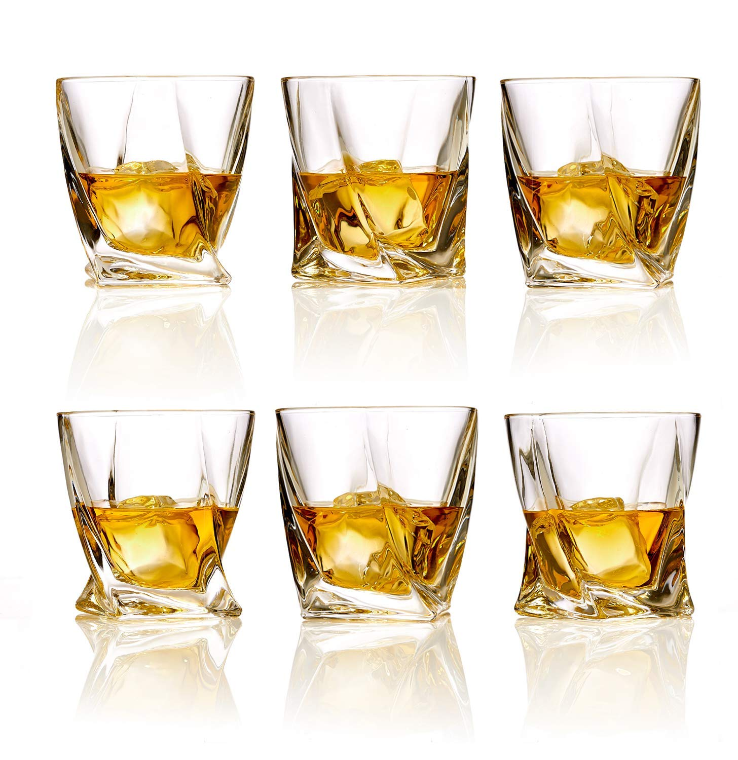 Whiskey Glasses Set of 6 Lead Free Crystal Old Fashioned Rock Glass Scotch Bourbon and Spirits 10 Ounce Liqueur Tumbler by Bezrat (Image #3)