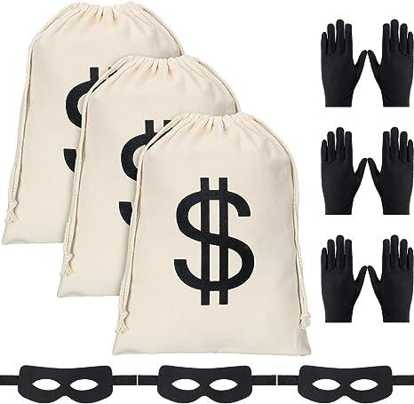 3 Sets de Disfraz de Ladrón, Incluye 3 Piezas de Bolsa de Dinero ...