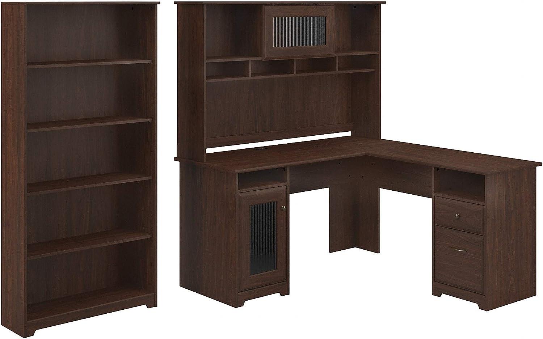 Bush Furniture Cabot L Desk with Hutch and 5 Shelf Bookcase, Modern Walnut