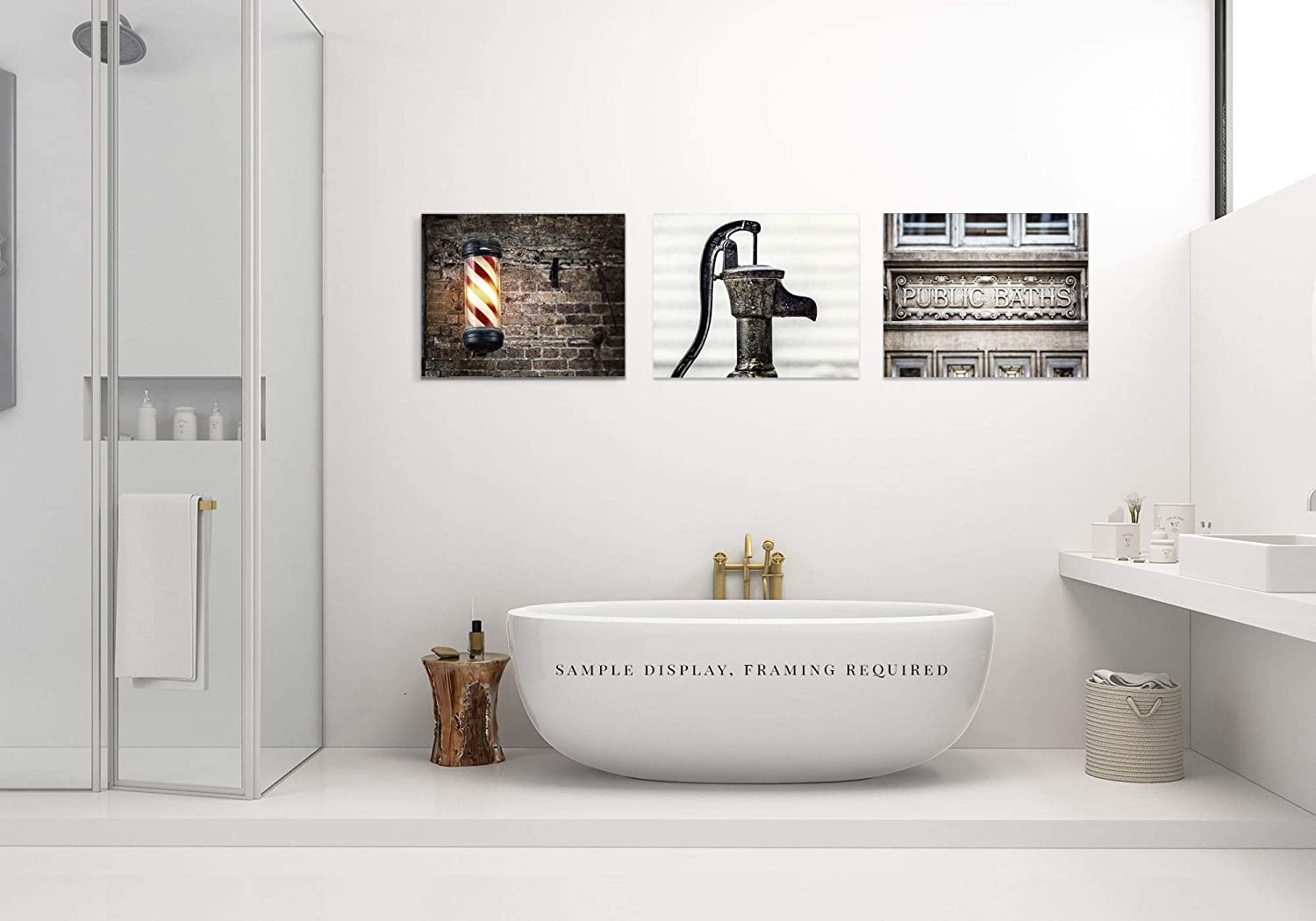 Bathroom Pictures for Men Modern Industrial Bathroom Wall Art Decor Set of 3 Gray 8x10 Red or 16x20. FBM3L Prints 11x14 5x7 Not Framed Black