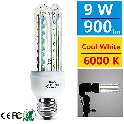 Eluxon - Bombilla LED, 9 W, E27, 6000 K, de bajo consumo