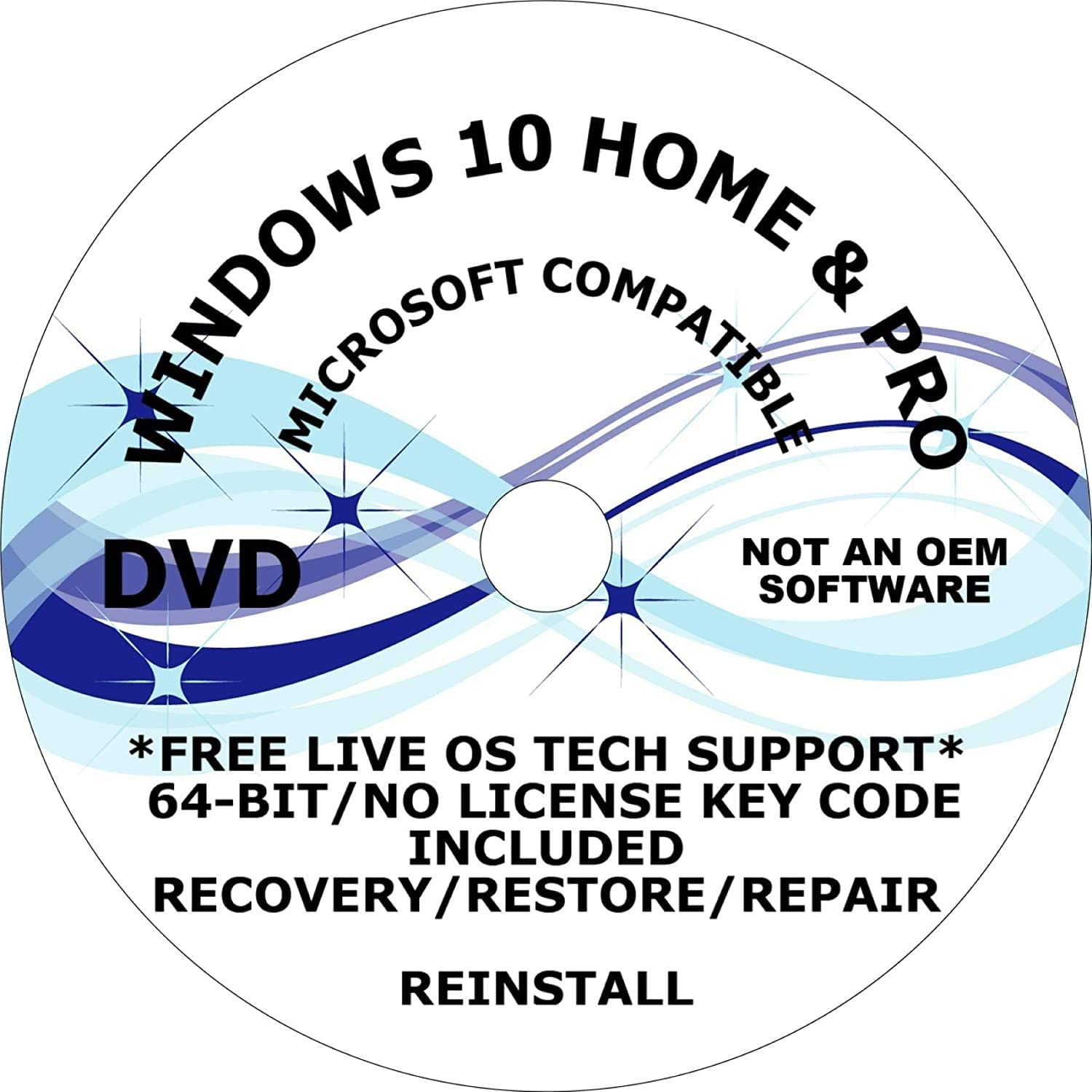 WINDOWS 10 PRO and HOME 64-BIT DVD RECOVERY FIX REINSTALL REPAIR REPLACE BOOT REBOOT RECOVERY INSTALL RESTORE TO FACTORY FRESH CONDITION FREE LIVE TECH SUPPORT COMPATIBLE TO MICROSOFT WINDOWS