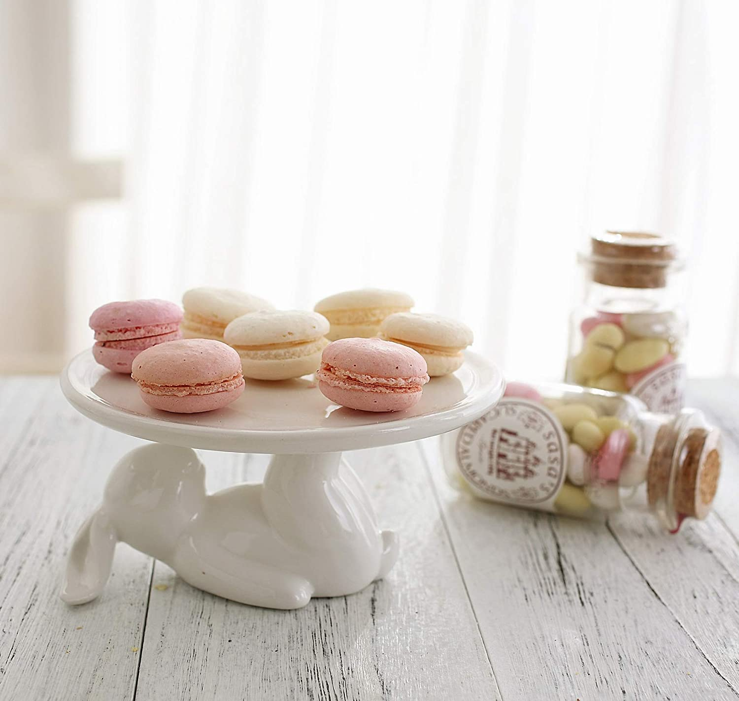 LA JOLIE MUSE Cupcake Stand Ceramic Dessert Plates for Snacks and Cookies, Bunny Candy Dish, 6.6 Inch White, Party Kitchen Gift