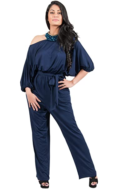 aa0dbd7bfac Adelyn and Vivian Plus Size Women s Long Sexy One Shoulder 3 4 Sleeve  Summer Elegant Evening Cocktail Formal Casual Pant Suit Pantsuit Romper  Rompers ...