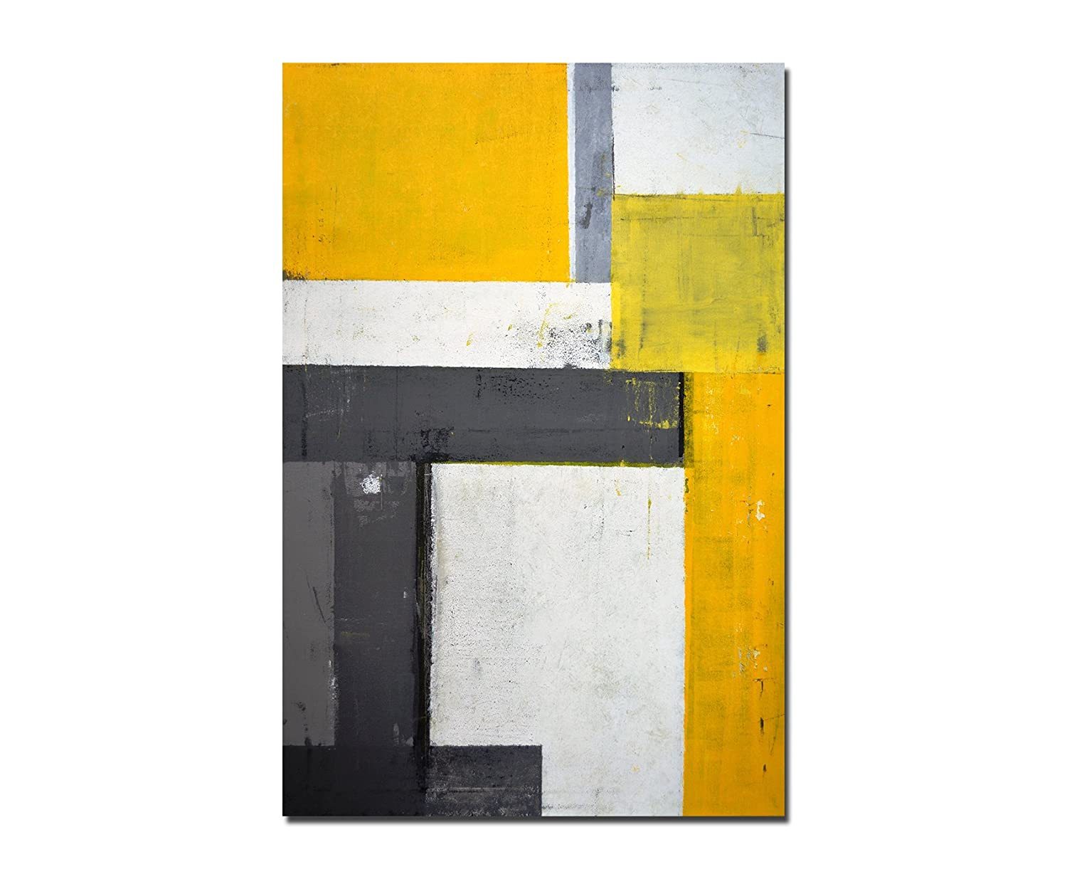120 x 80 cm - Wall Art Painting Yellow/Grey Abstract Canvas Picture ...