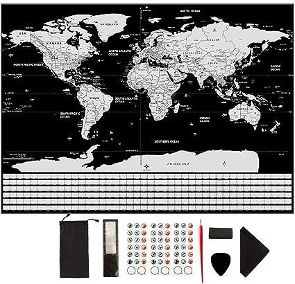 Cartina Mondo Gratta.Argento Nero Guifier Mappa Del Mondo Da Grattare Cartina Mondo Da Grattare Poster Con Bandiere Gratta La Mappa Scratch Mappa Di Viaggio Perfetto Per Viaggiatori Esploratori Commercio Industria E Scienza Mappe Mastica Pe