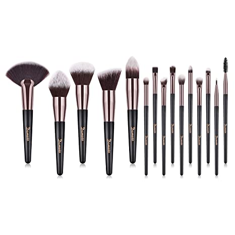 5a8030be4 Brochas de Maquillaje, 15pcs Maquillaje Profesional Pinceles Maquillaje de  Ojos, Rubor, Contorno,
