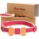 Pettsie Dog Collar Bow Tie and Friendship Bracelet for you, Durable Hemp for Extra Safety, 3 Easy Adjustable Sizes, Comfortable and Soft, Strong D-Ring for Easy Leash Attachment