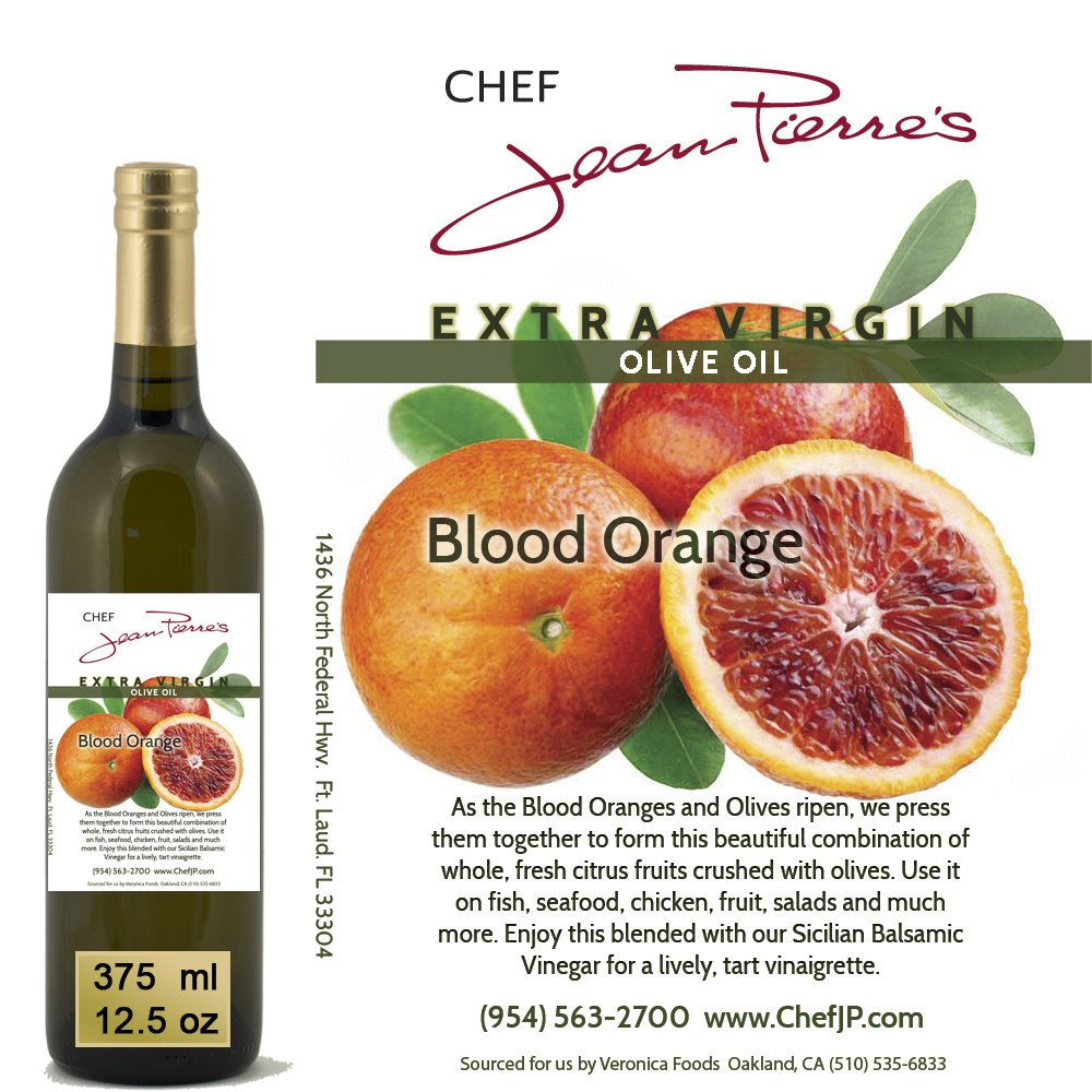 100% naturally infused Blood Orange Olive Oil 375ml (12.5oz) by Chef Jean-Pierre's